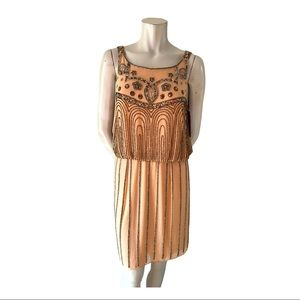 JS Collections Peach Dress with Pewter Beading 8